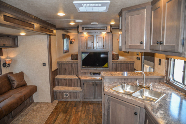 Living Room in Charger C8X14CE Horse Trailer   Lakota Trailers