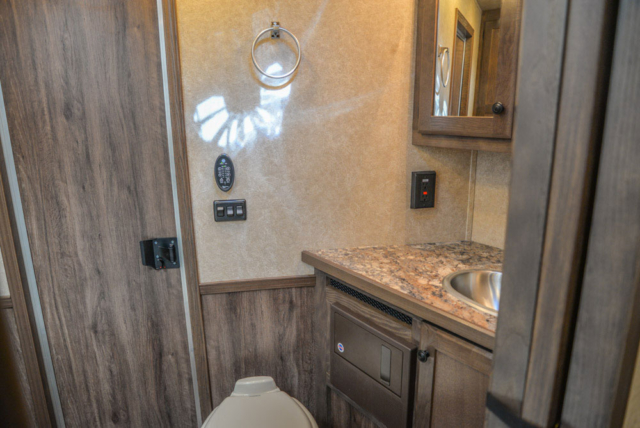 Bathroom in a C8X14CE Charger Edition Horse Trailer | Lakota Trailers