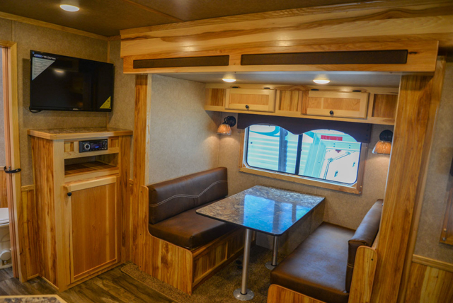 Dinette in a LE8X13SR Charger Edition Livestock Trailer | Lakota Trailers