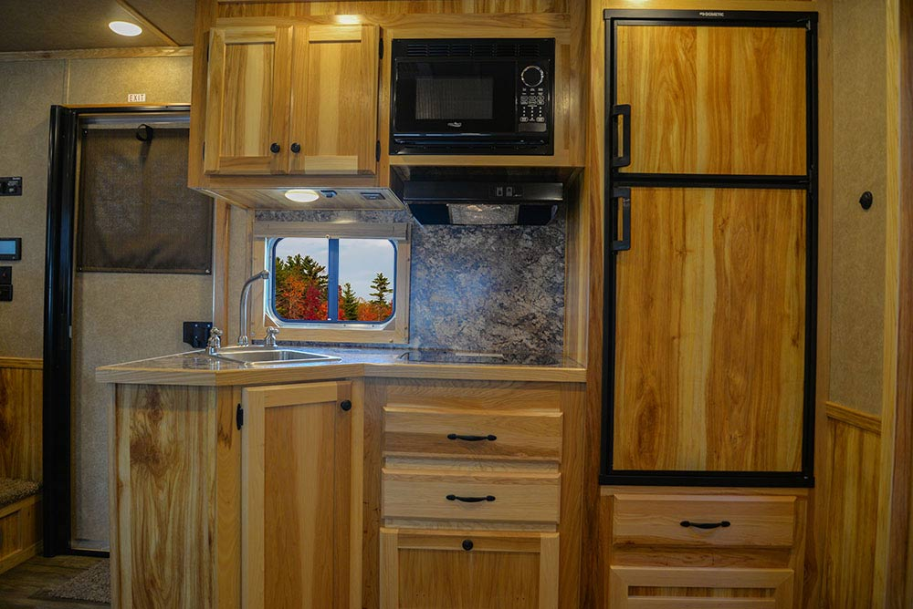 Kitchen Area in LE8X13SR Charger Edition Livestock Trailer | Lakota Trailers