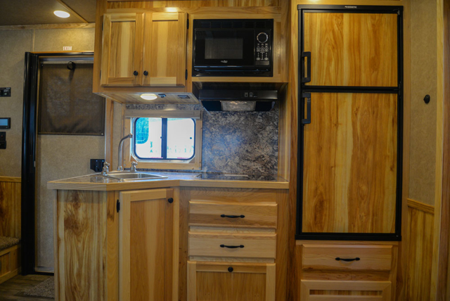 Kitchen in a LE8X13SR Charger Edition Livestock Trailer | Lakota Trailers