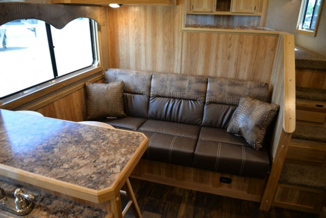 Sofa in a C8X13SRB Charger Edition Horse Trailer | Lakota Trailers