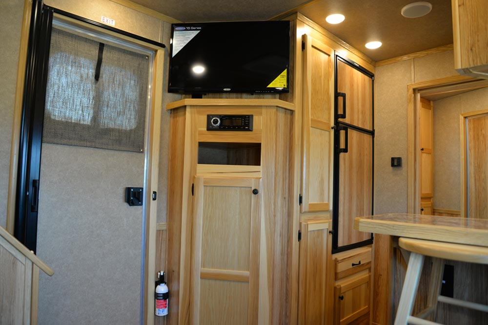 TV in a C8X13SRB Charger Edition Horse Trailer | Lakota Trailers