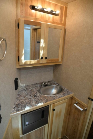 Bathroom in a C8X13SRB Charger Edition Horse Trailer | Lakota Trailers