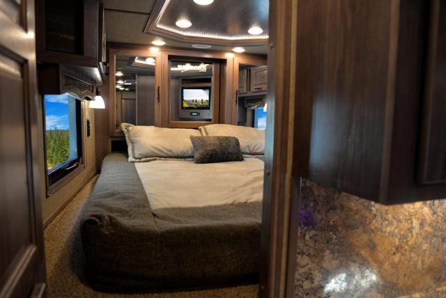 Bed in Gooseneck in BH8X15KP Bighorn Edition Horse Trailer   Lakota Trailers