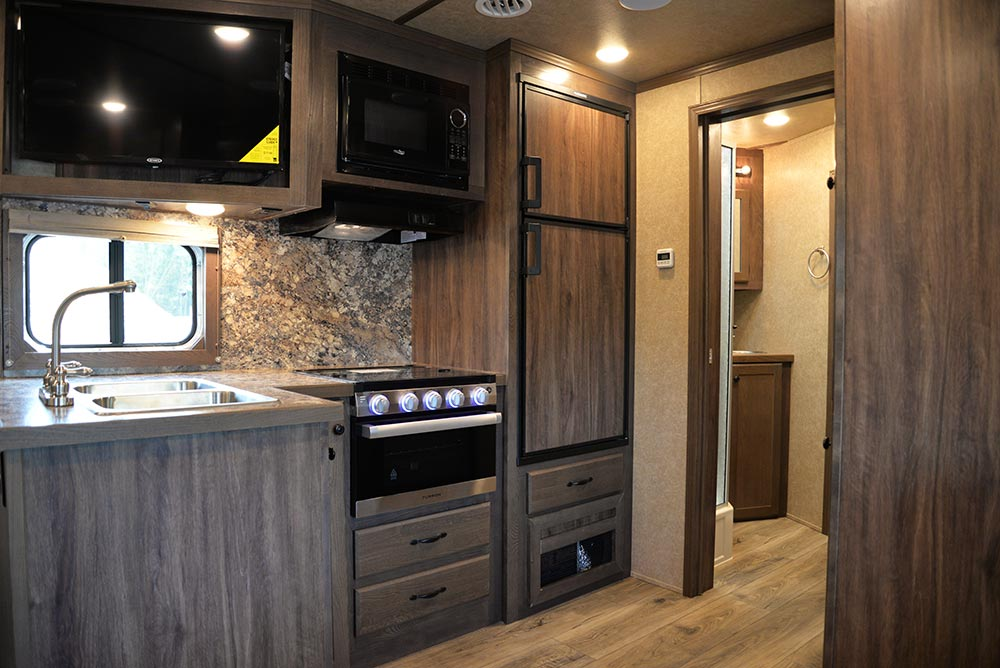 Kitchen Area in C8X14SR Charger Edition Horse Trailer | Lakota Trailers
