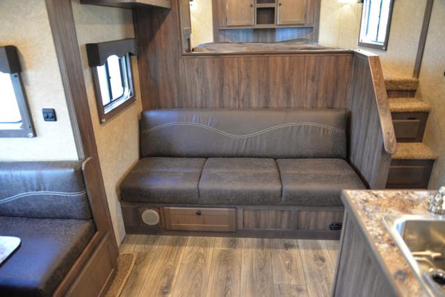 Sofa in C8X14SR Charger Edition Horse Trailer | Lakota Trailers