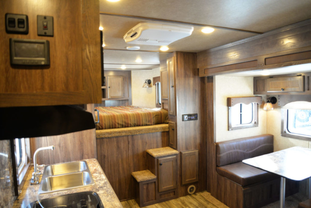Living area in Charger LE8X15BB | Lakota Trailers