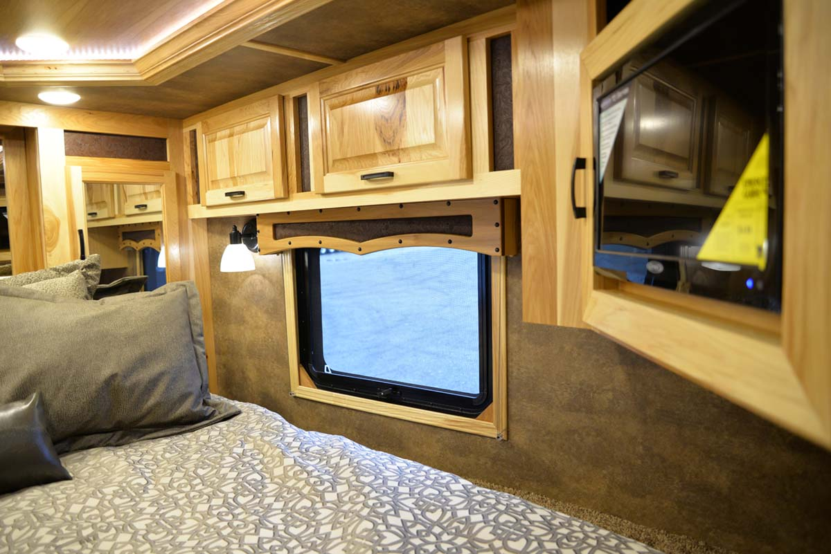 Bedroom in Custom BLE8X11RK Bighorn Livestock   Lakota Trailers