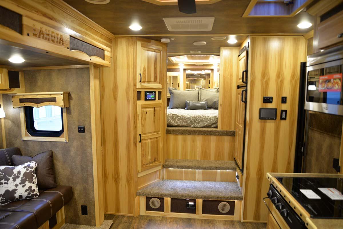 Living space in Custom BLE8X11RK Bighorn Livestock   Lakota Trailers