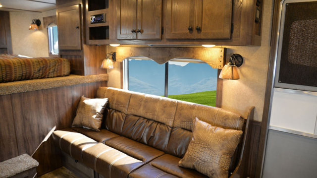 Sofa in C8X15RK Charger Edition Horse Trailers | Lakota Trailers
