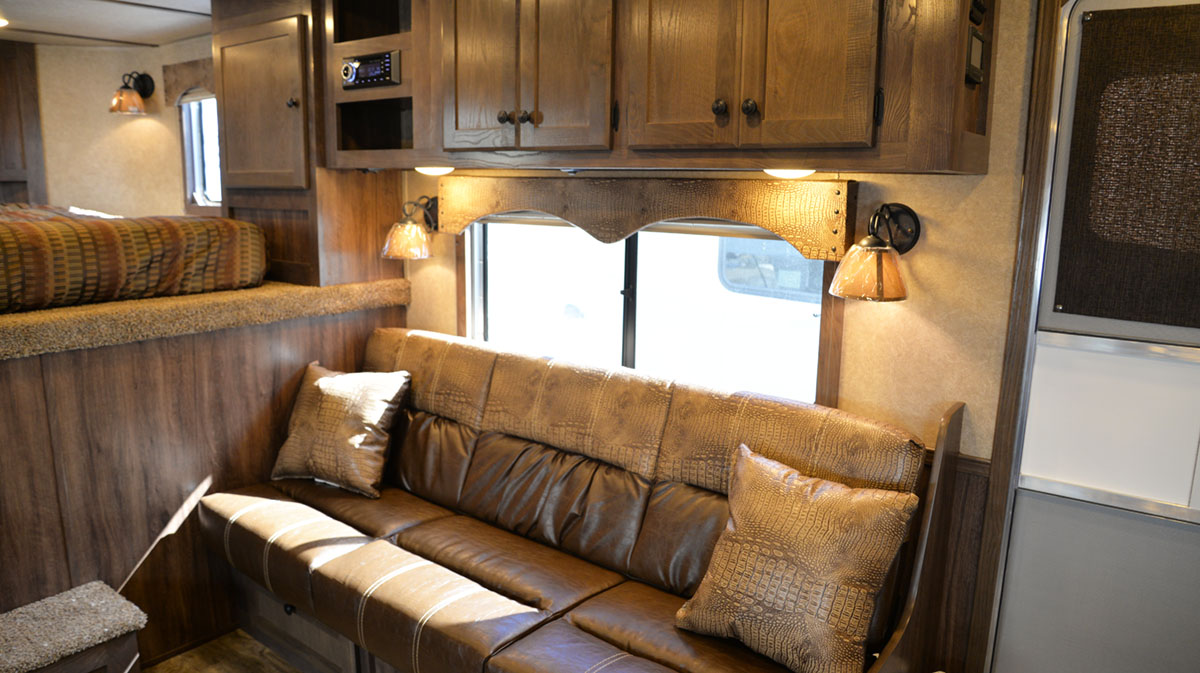 Sofa in Charger C8X15RK Horse Trailer | Lakota Trailers