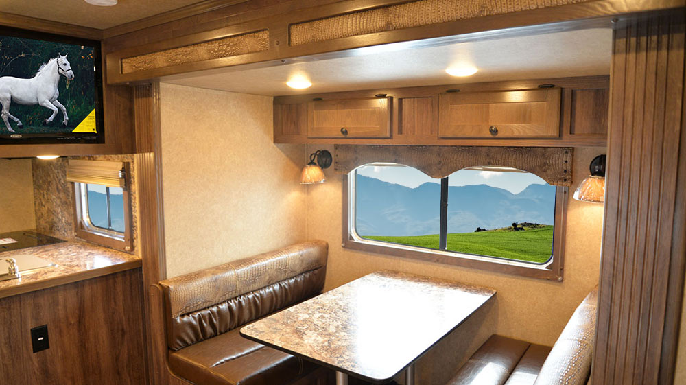Dinette in C8X15RK Charger Edition Horse Trailer | Lakota Trailers