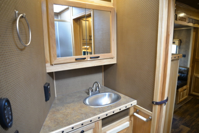 Bathroom in BH8X13RK Bighorn Edition | Lakota Horse Trailers