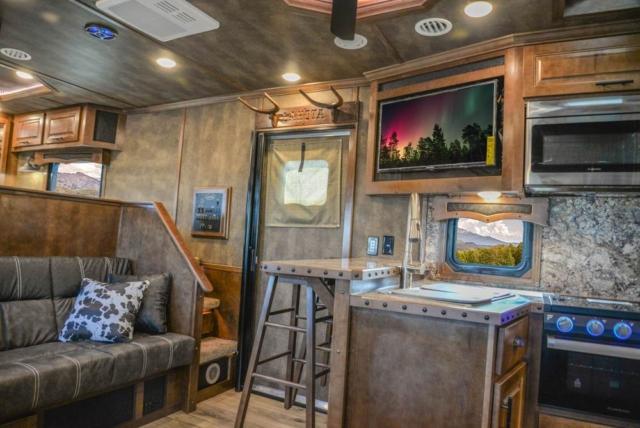 Living Quarters in BH8X19BBSRB Bighorn Edition Horse Trailer | Lakota Trailers