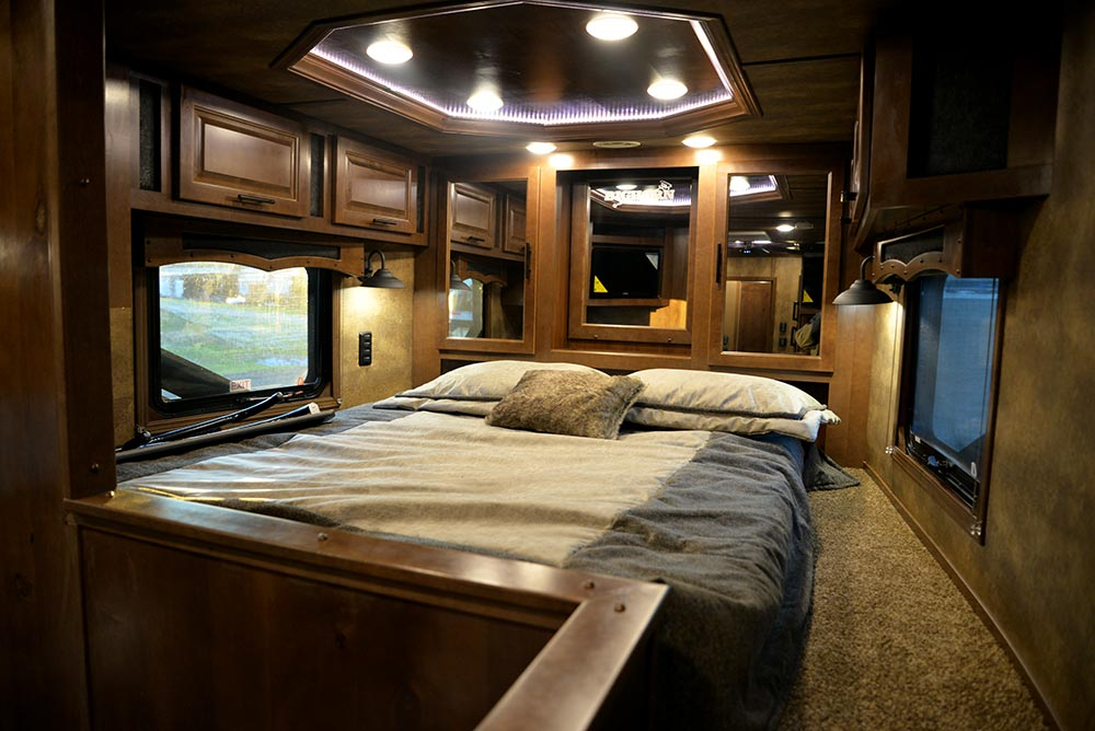 Bed in Gooseneck of a BH8X11SR Bighorn Edition Horse Trailer | Lakota Trailers