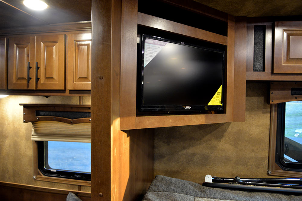 TV in Gooseneck of a BH8X11SR Bighorn Edition Horse Trailer | Lakota Trailers