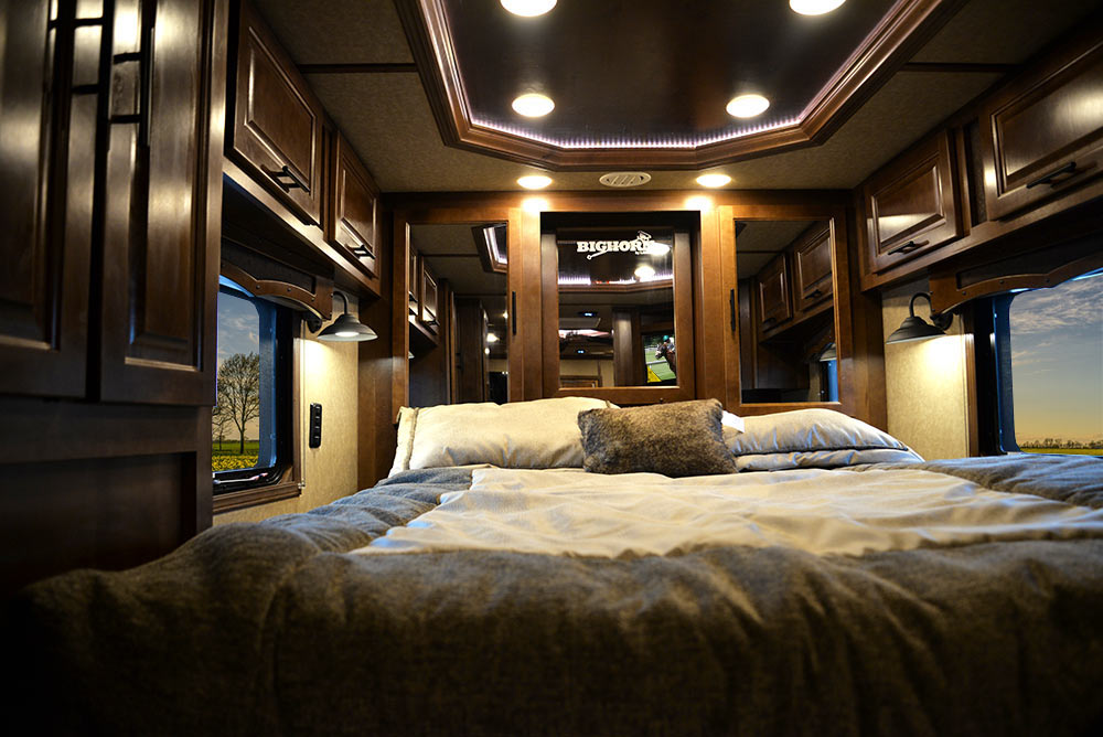 Bed in Gooseneck of a BH8X13RK Bighorn Edition Horse Trailer | Lakota Trailers