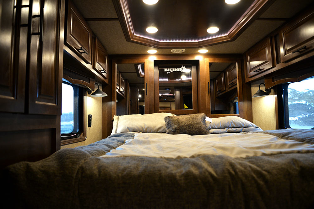 Bed in Gooseneck of a BH8X13RK Bighorn Edition | Lakota Trailers