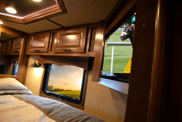 TV in Gooseneck of a BH8X13RK Bighorn Edition Horse Trailer | Lakota Trailers