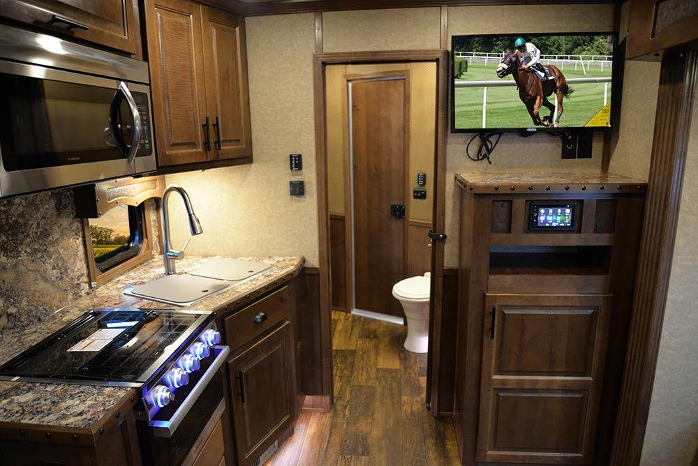 Living Quarters in a BH8X13RK Bighorn Edition Horse Trailer | Lakota Trailers