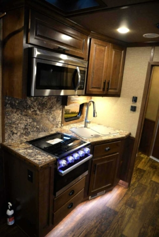 Kitchen Area in a BH8X13RK Bighorn Edition Horse Trailer | Lakota Trailers