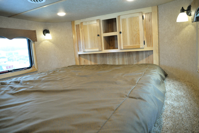 Bed in Gooseneck of LE8X14CE Charger Edition Livestock Trailer | Lakota Trailers