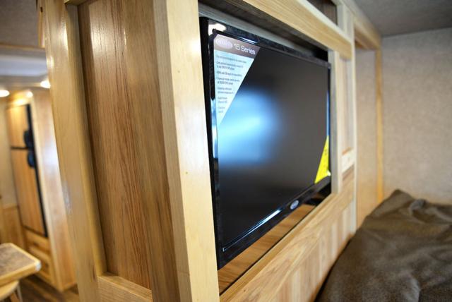 TV in Gooseneck of LE8X14CE Charger Edition Livestock Trailer | Lakota Trailers