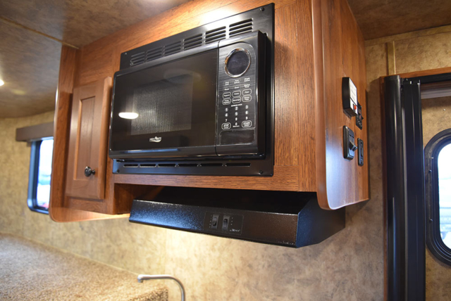 Microwave in Kitchen Area in ACX7 Colt Edition Horse Trailer | Lakota Trailers