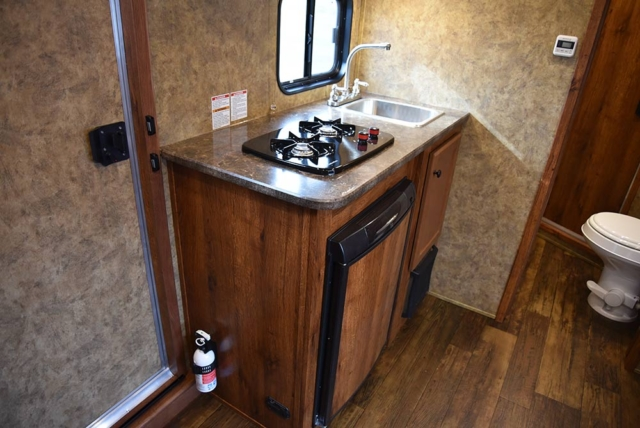 Kitchen Area in AC8X9 Colt Edition Horse Trailer | Lakota Trailers