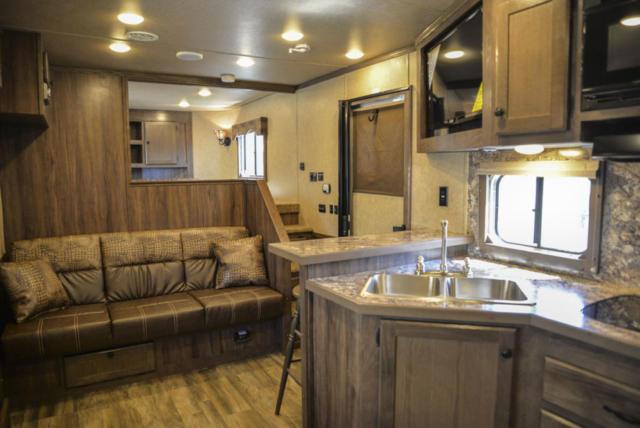 Kitchen Area in Charger C8X17SRB Horse Trailer | Lakota Trailers