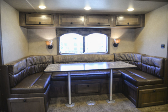 U Shaped Dinette in Charger C8X17SRB Horse Trailer | Lakota Trailers