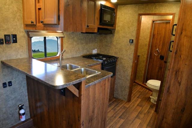 Kitchen Area in AC8X13SO Colt Edition Horse Trailer   Lakota Trailers
