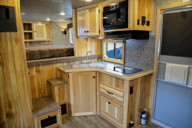 Kitchen Area in LE8X11 Charger Edition Livestock Trailer | Lakota Trailers