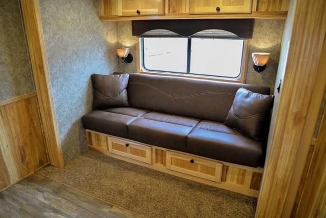Sofa in LE8X11 Charger Edition Livestock Trailer | Lakota Trailers