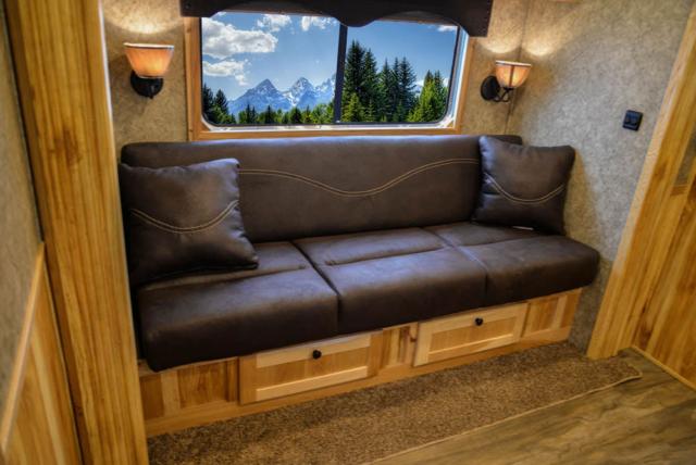 Sofa in LEX12 Charger Edition Livestock Trailer | Lakota Trailers
