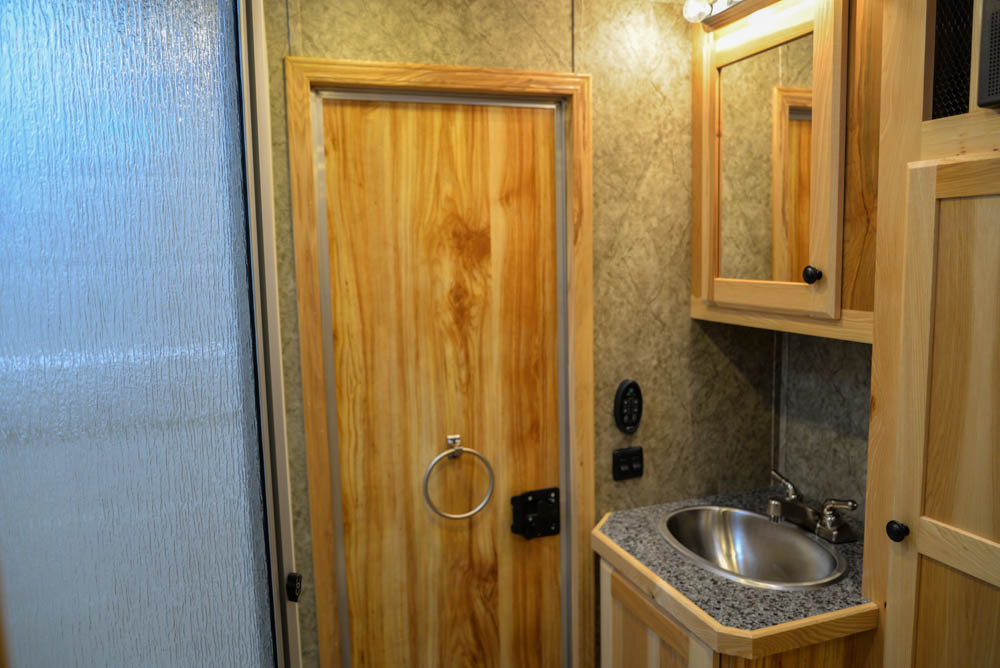 Bathroom in LEX12 Charger Edition Livestock Trailer | Lakota Trailers