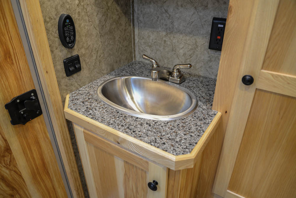 Bathroom Sink in Charger LEX12 Livestock Trailer | Lakota Trailers