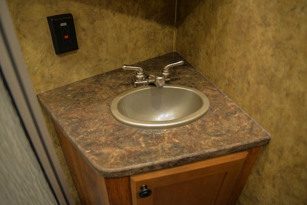 Bathroom sink in a Colt AC839 | Lakota Trailers