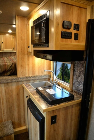 Kitchen Area in LEX9 Charger Edition Livestock Trailer | Lakota Trailers
