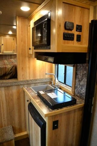 Kitchen Area in LEX9 Charger Edition Livestock Trailer   Lakota Trailers
