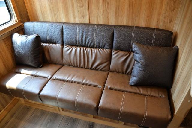 Sofa in C8X13SRB Charger Edition Horse Trailer | Lakota Trailers