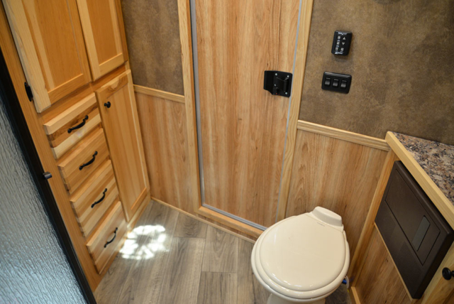 Bathroom in C8X13SRB Charger Edition Horse Trailer | Lakota Trailers