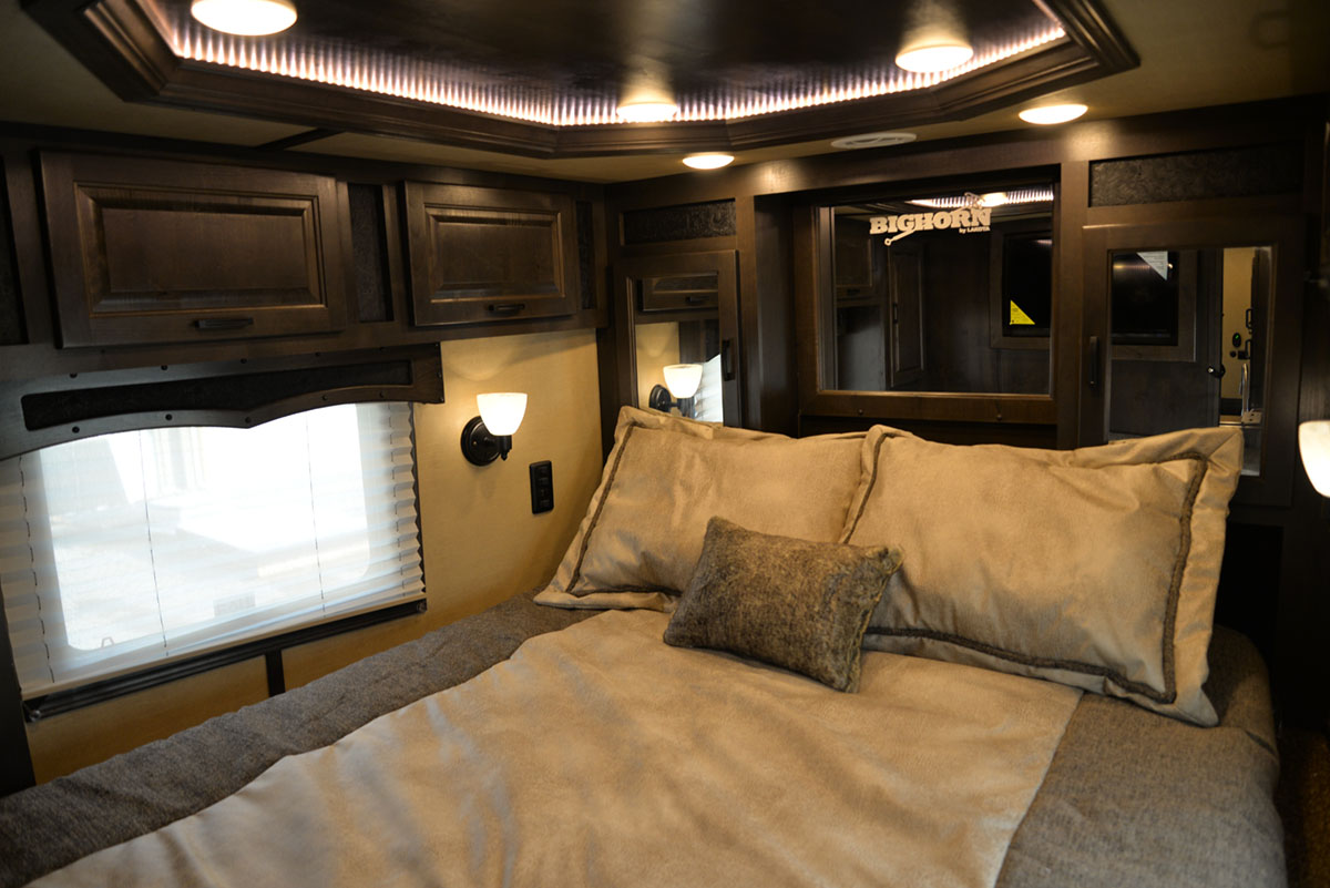 Bedroom in BH8X17SRB Bighorn   Lakota Trailer