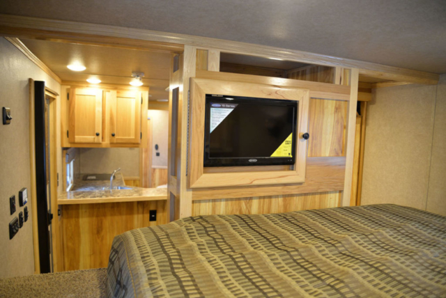 Bedroom in LE8X14CE Charger Livestock   Lakota Trailers