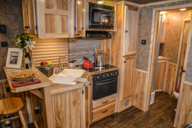 Kitchen in a Charger C8X13RK   Lakota Trailers
