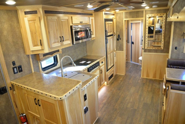 Living space in a Bighorn Livestock BLE8X18CE | Lakota Trailers