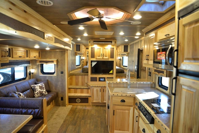 Living space in a Bighorn Livestock BLE8X18CE | Lakota Trailers
