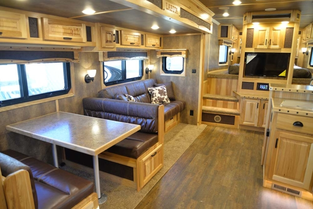 Living space in BLE8X18CE Bighorn Livestock | Lakota Trailers