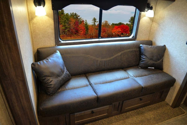 Sofa in Slide-Out in CX9ST Charger Edition Horse Trailer   Lakota Trailers